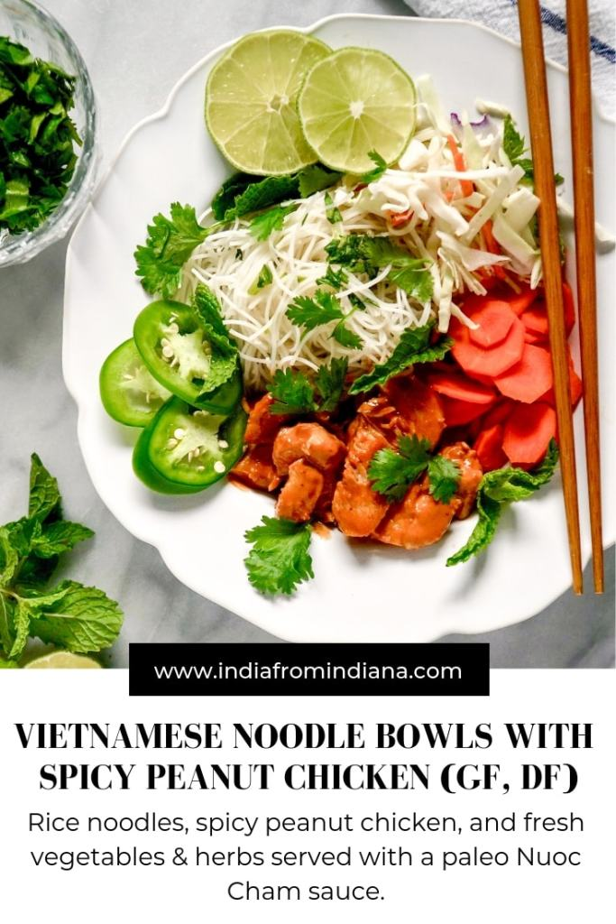 Vietnamese Noodle Bowl with Spicy Peanut Chicken