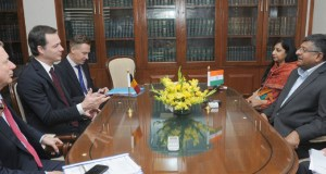 The Deputy Prime Minister of Belgium, Mr. Alexander De Croo meeting the Union Minister for Electronics & Information Technology and Law & Justice, Shri Ravi Shankar Prasad, in New Delhi on February 07, 2017.(PIB Photo)