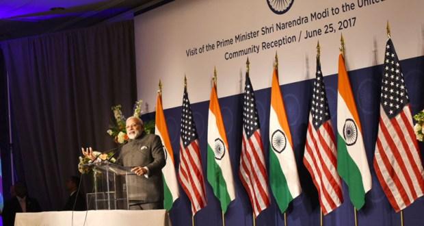 The Prime Minister, Mr Narendra Modi addressing at the Indian Community Reception, in Washington DC, USA on June 25, 2017.(PIB)