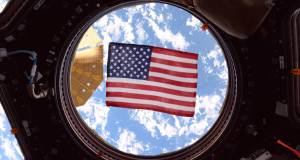 NASA astronaut Jack Fischer took this photograph of an American flag in one of the windows of the International Space Station's cupola, a dome-shaped module through which operations on the outside of the station can be observed and guided. Throughout NASA's history, spacecraft and launch vehicles have always been decorated with flags.(NASA)