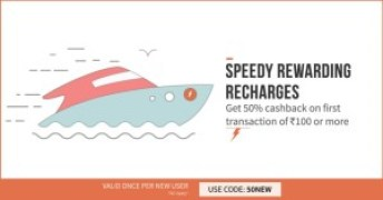 FreeCharge - Get Flat 50% CashBack on Recharge of Rs 100 or More (New Users)