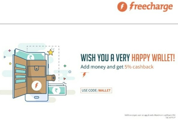 [Wallet]Get 5% CashBack On Adding Money To FreeCharge Wallet