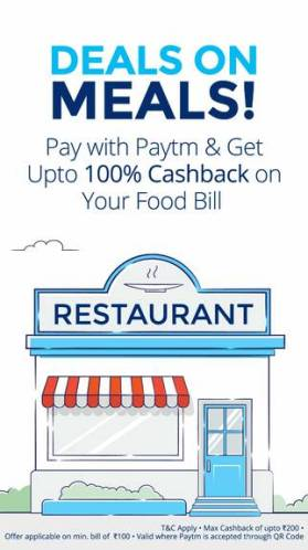 Restaurants Get Upto 100% CashBack On Rs 100 Bill From Paytm Wallet
