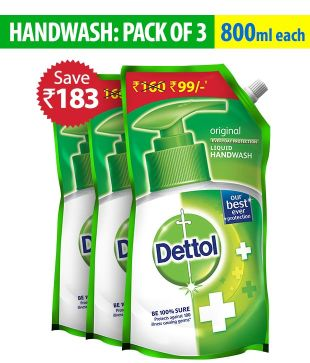 Dettol Original Handwash Pouch 800ml (Pack Of 3) Rs 231 – Snapdeal
