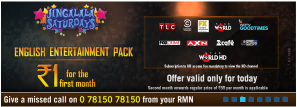 Tata Sky Jingalala Saturday Loot - Get 18 English Movie Channels At Rs 1 For 1 Month