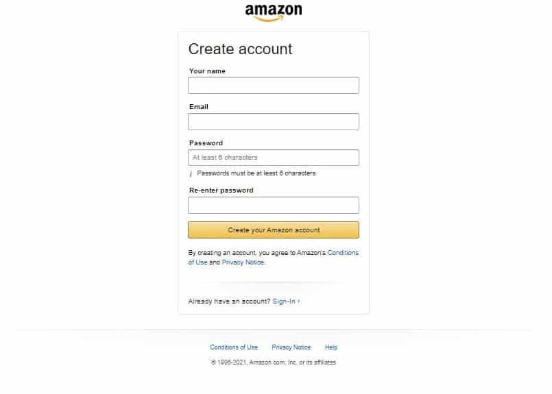 amazon affiliate Account creating