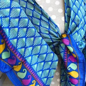 Blusa Seda Celeste y Colores