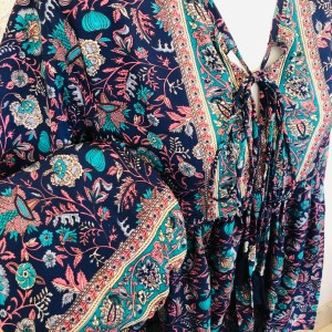 Blusa Tassel Azul y Turquesa