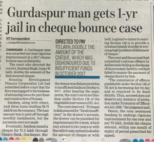 Jail in Cheque Bounce Cases Loan Case