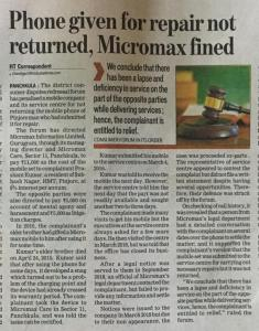 Consumer complaint against Micromax Mobile Company