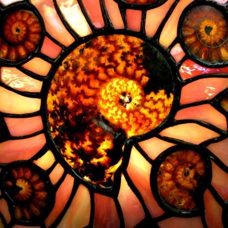 Ammonite & Stained Glass Oval Lamp 1h