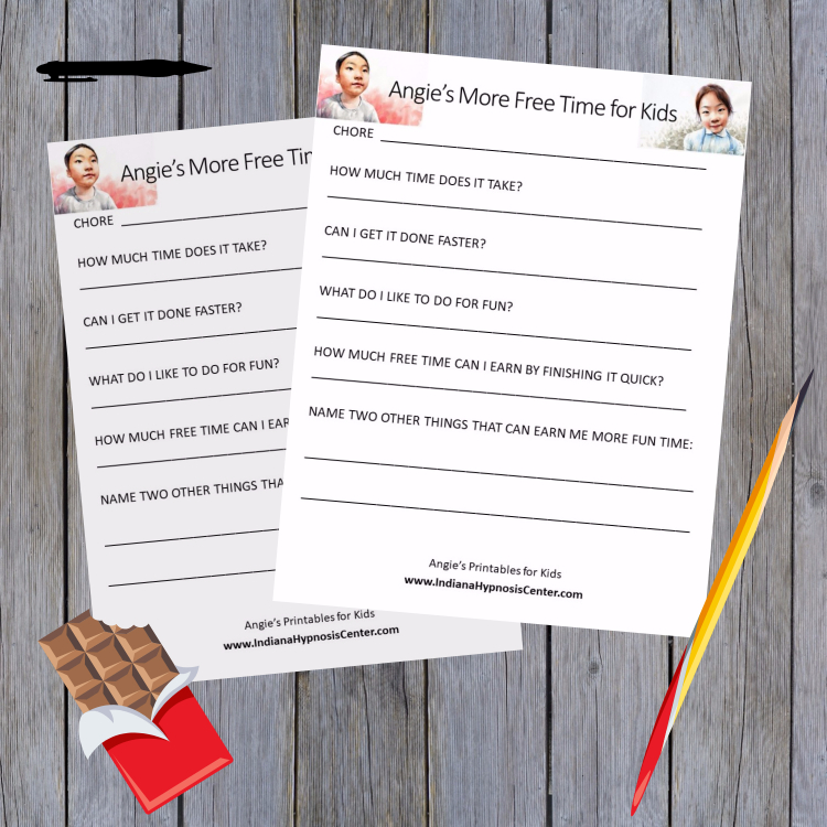 Printable form on the table with a pen, pencil and a candy bar with a bite taken out