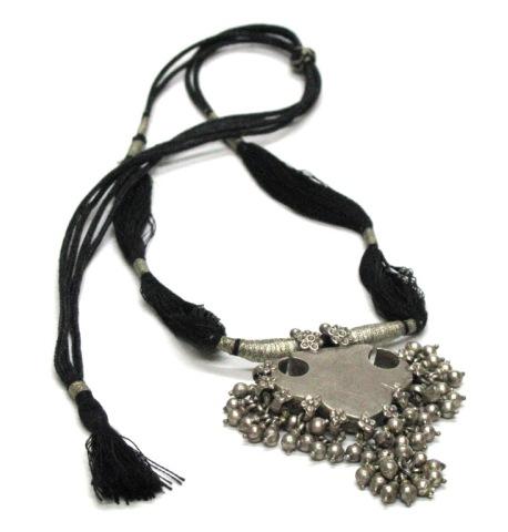 Antique Indian Necklace, Indian Amulet Box Pendant, Silver, 50.8 Grams (1.790 oz.)