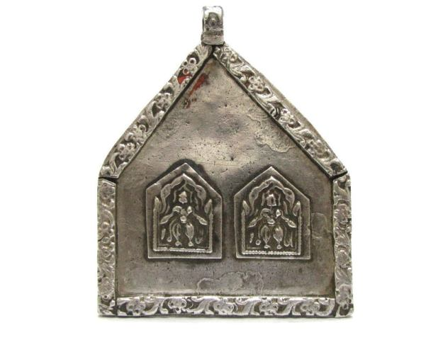 Antique Duo Bheru or Bhairava Form of Shiva Amulet, Large, High Grade Silver,53.4 Grams