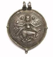 Antique Indian Amulet, Bhairava Form of Shiva, EXTRA LARGE, 68 Grams
