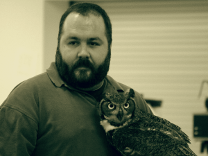 Domonic Potorti with Mowgli the Great Horned Owl