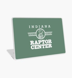 Indiana Raptor Center bald eagle on cabin logo laptop cover