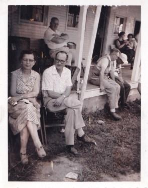 Front porch at Columbus Gun Club (Leone and Elzie McClintock)
