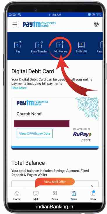 Add Money in Paytm payments bank through Debit Card without any charge