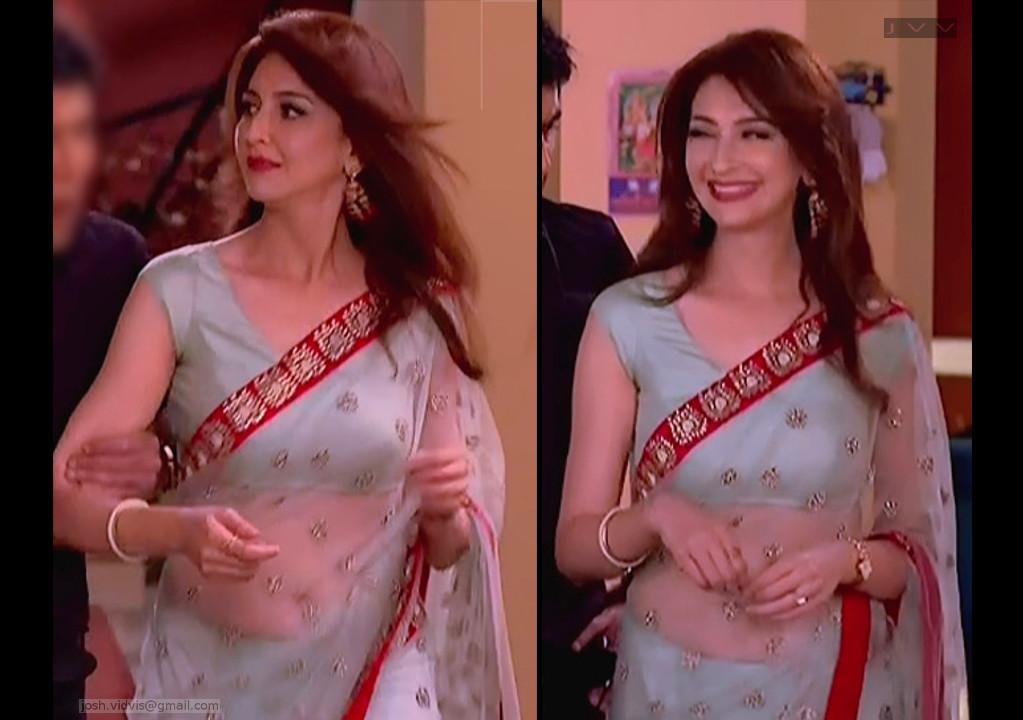 Saumya Tandon Hindi TV actress hot navel show in Transparent sari