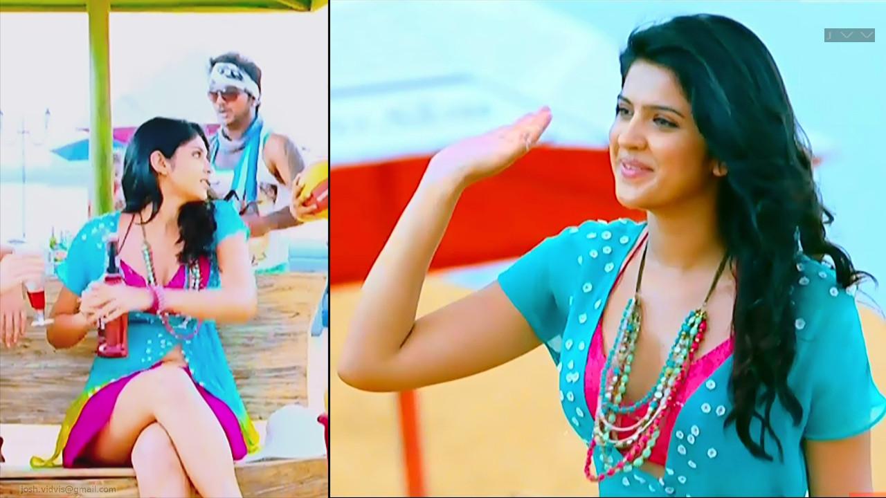 Deeksha Seth rajapattai tamil movie hot legs song caps in mini skirt