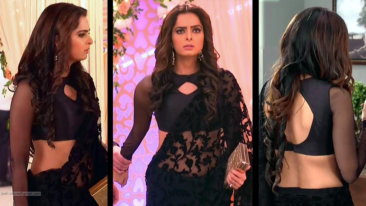 Ruhi Chaturvedi tv actress hot backless saree hd caps