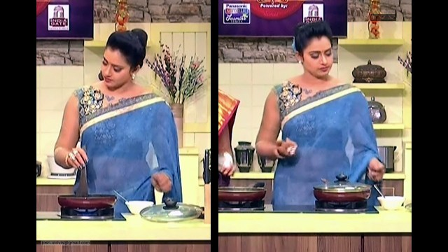 Telugu Anchor Cook show_01_Saree navel