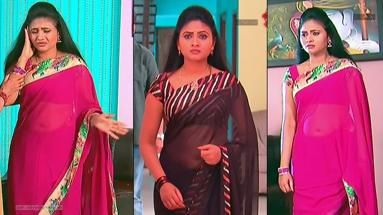 Telugu Serial actress hot saree navel hd caps