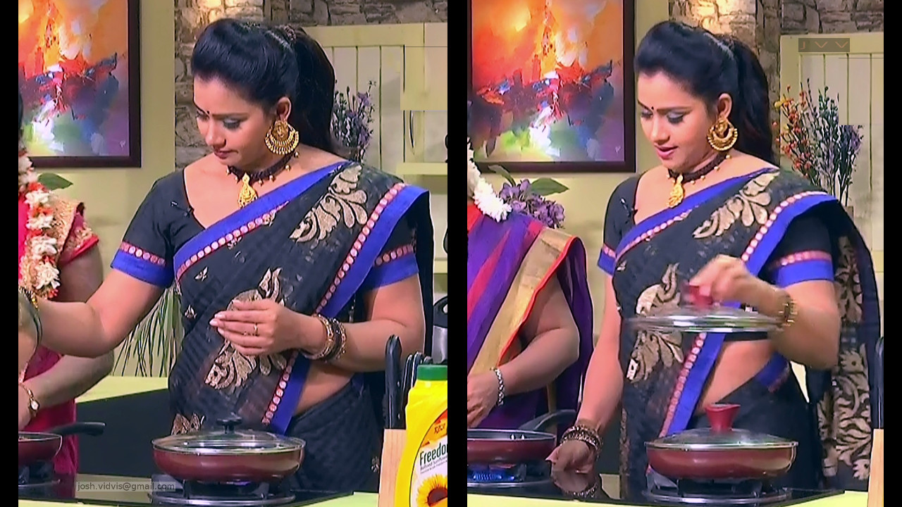 Telugu TV anchor Bhavana hot caps in sari