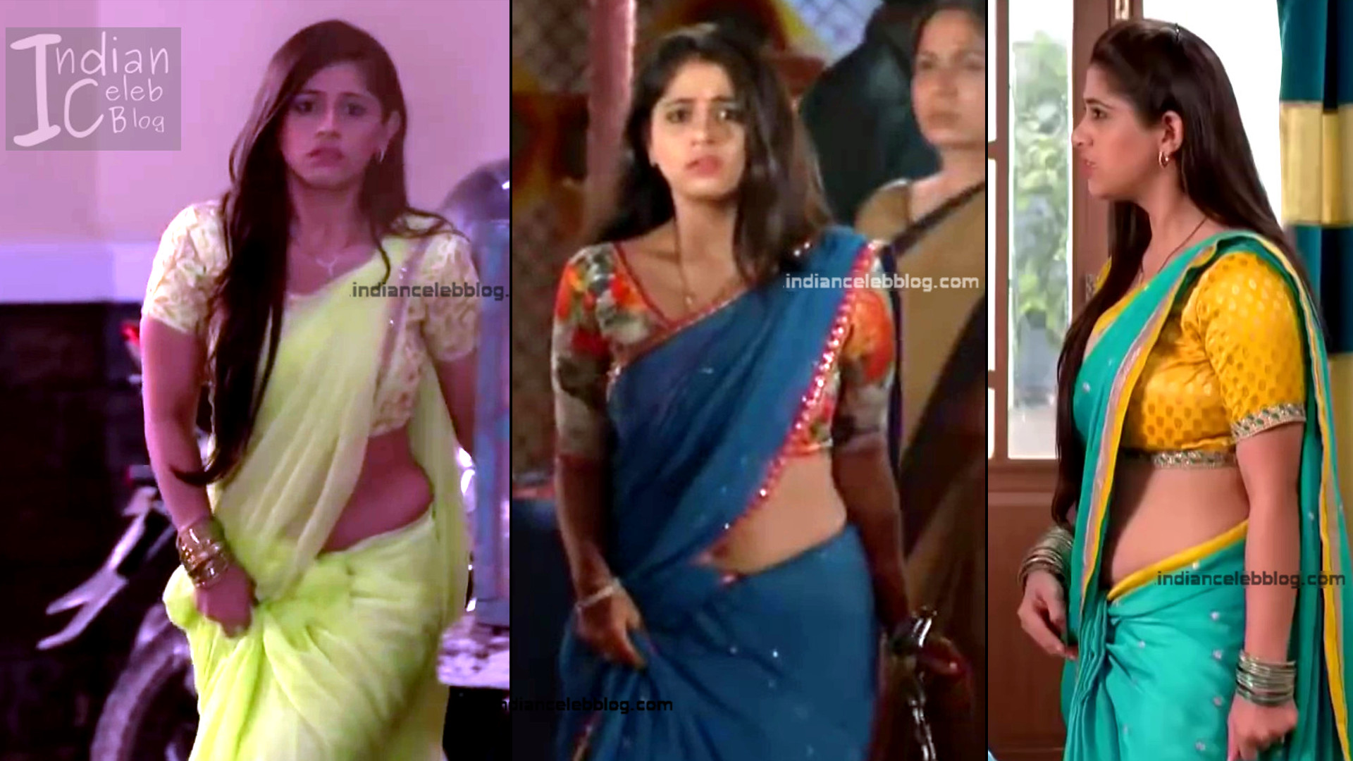 Chandni Bhagwanani saree navel show tv serial caps