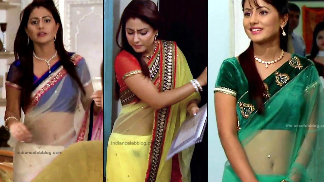Hina Khan Hindi TV serial actress hot Transparent Saree photo Compilation