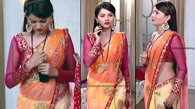 Rubina Dilaik_Hindi TV Actress_1_Hot Transparent saree navel pics