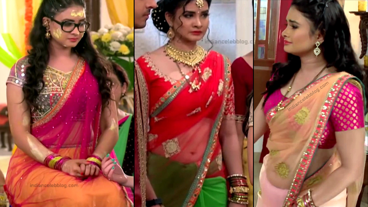 Neha Dangal navel show in transparent saree tv caps