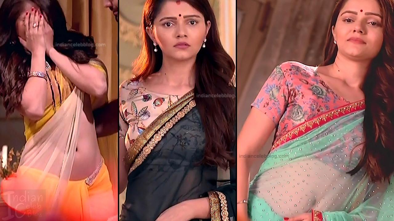 Rubina Dilaik bares navel in low hip saree hd tv caps
