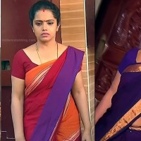 Sudha Tamil TV Actress hot midriff show in low waist saree