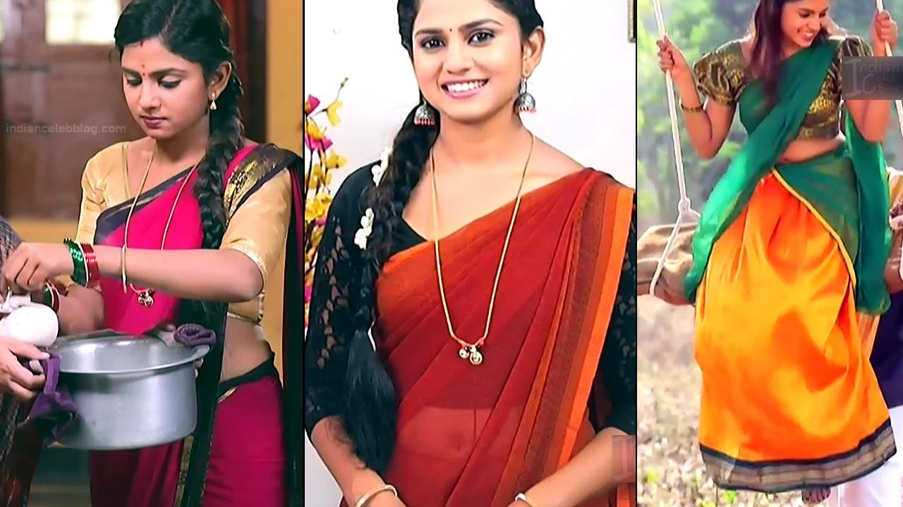 Raksha Gowda Kannada TV actress saree navel caps