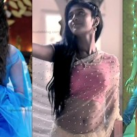 Shivangi joshi sexy navel show in transparent sari hd caps