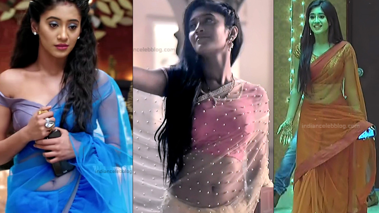 Shivangi joshi sexy navel show in transparent sari hd caps