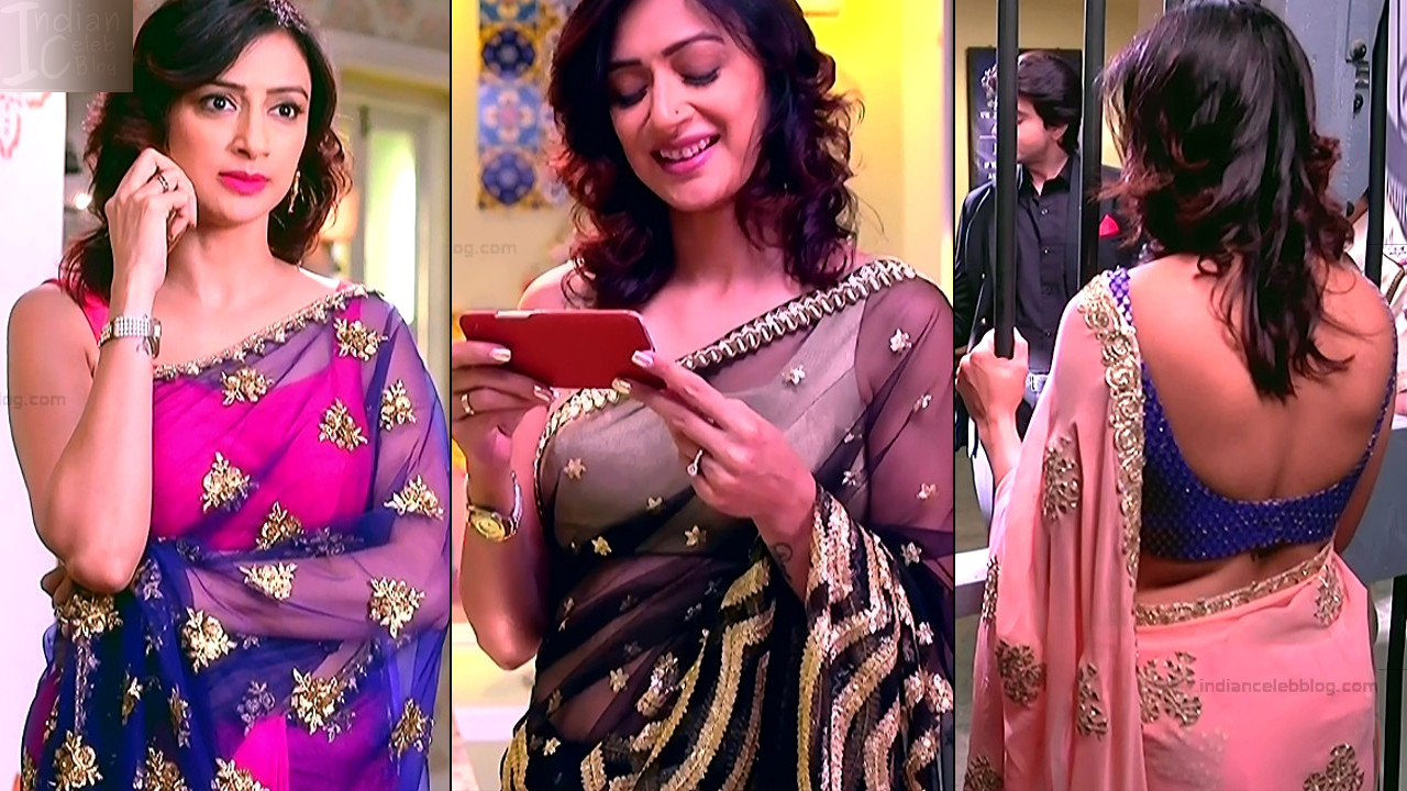 Gauri Pradhan hot backless sleeveless sari hd caps
