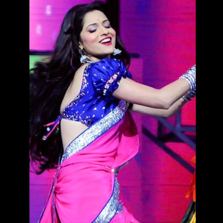 Ankita Lokhande Hindi TV actress CelebTS1 23 hot saree pics
