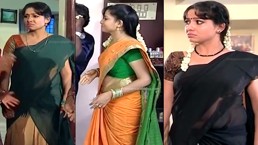 Minnal Deepa Tamil TV hot Saree navel show