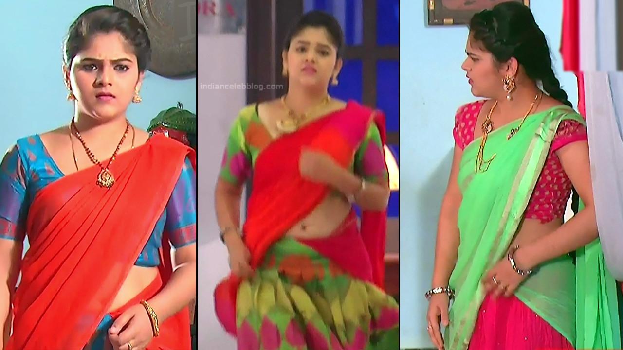Telugu tv actress navel show in half saree agnisakshi hd caps