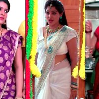 Monisha telugu tv serial actress saree navel show hd caps