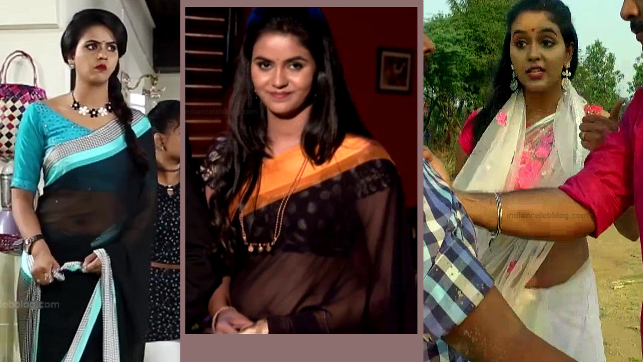 Chaitra reddy sexy saree navel show, tamil tv hd caps