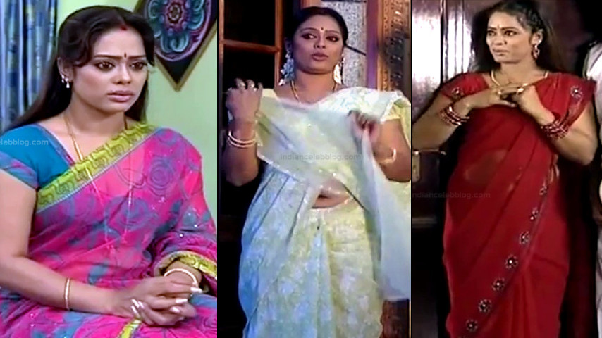 Devi priya Tamil TV sexy navel n cleavage show sari Caps