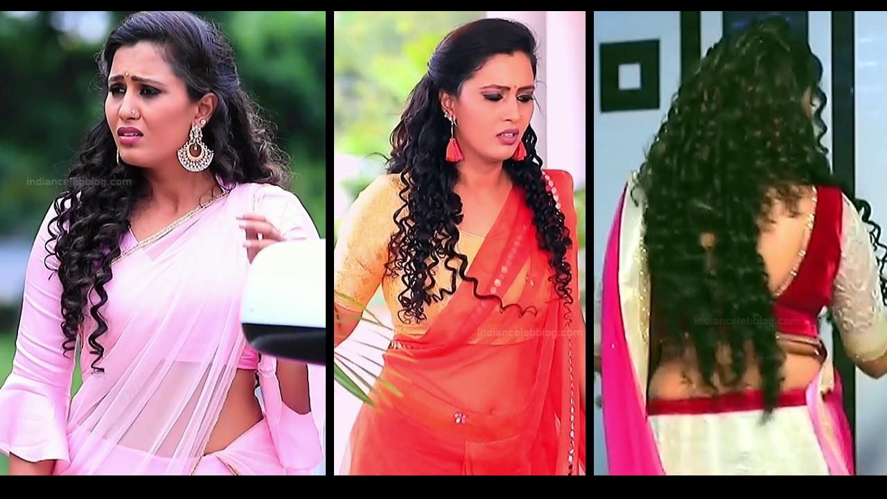 Neha Gowda sexy midriff backless show hd tv caps