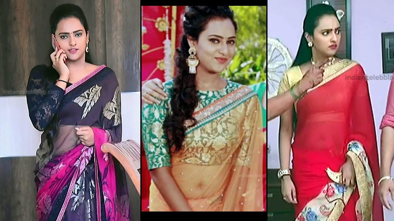 Agnisakshi Kannada TV actress Saree navel show Caps