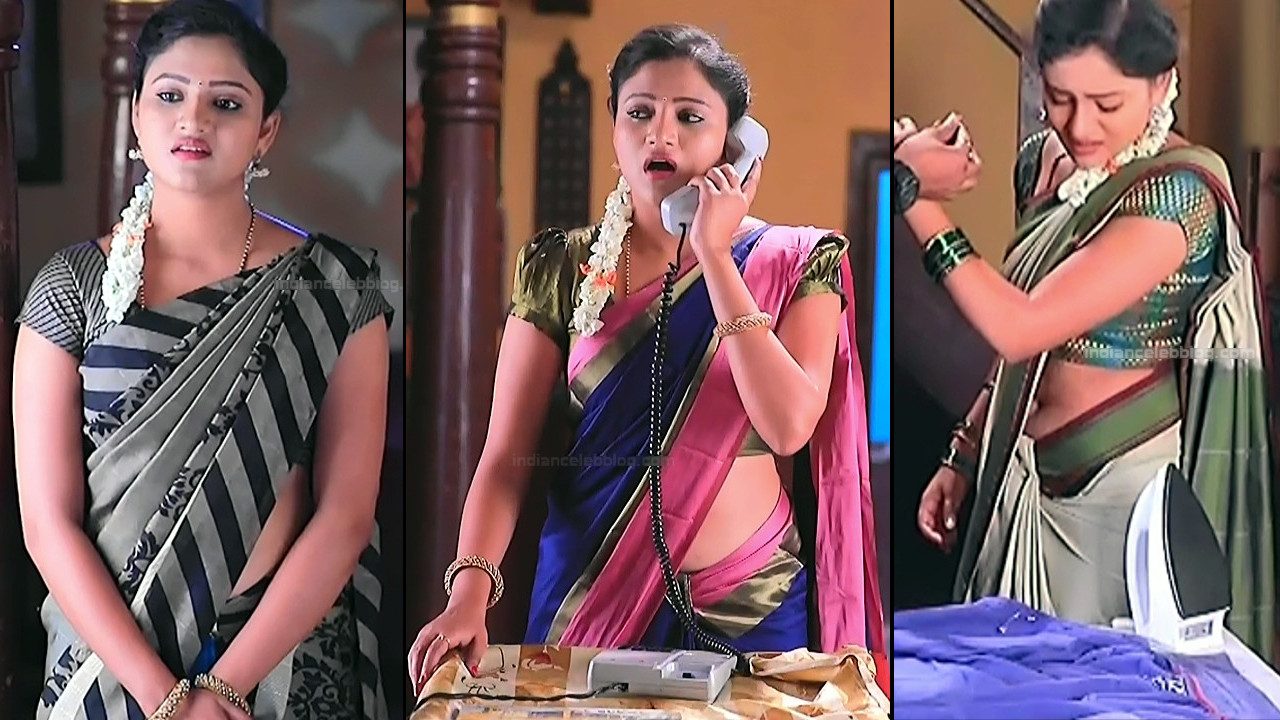 Ranjani Raghavan hot navel show in low waist saree Caps