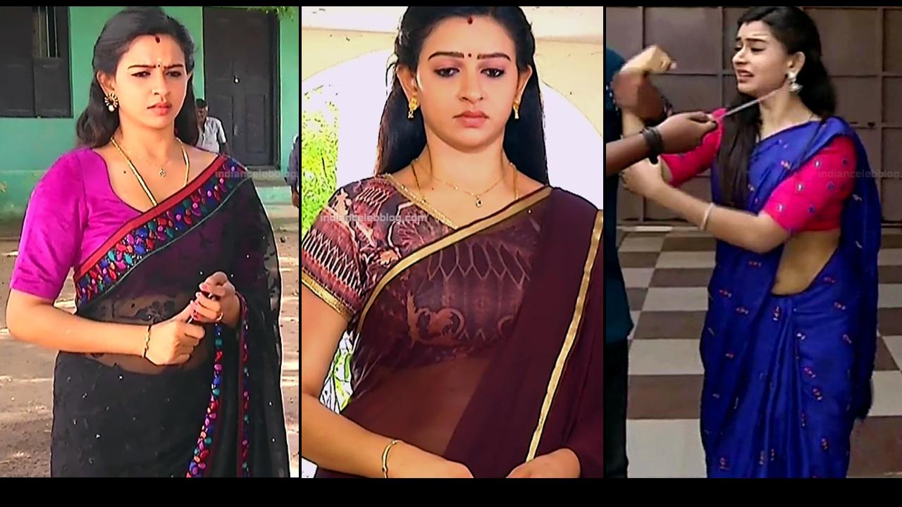 Divya Ganesh TV caps in transparent sari - Sumangali serial