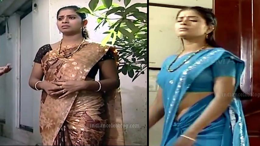 Jangiri Madhumitha Saree navel Caps from tamil TV serial